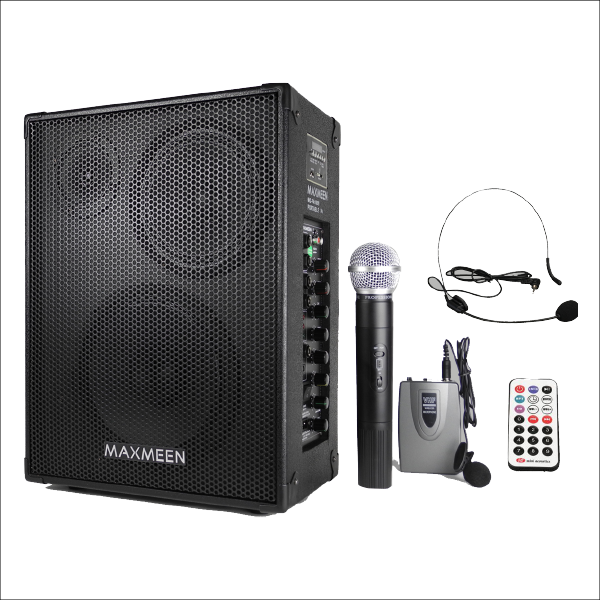 Maxmeen Portable Pa System with USB & 2 wireless microphones 250W, MG-PA1000