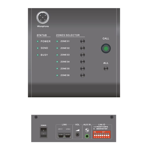 Maxmeen Remote Paging Microphone MG-R6000 Control panel