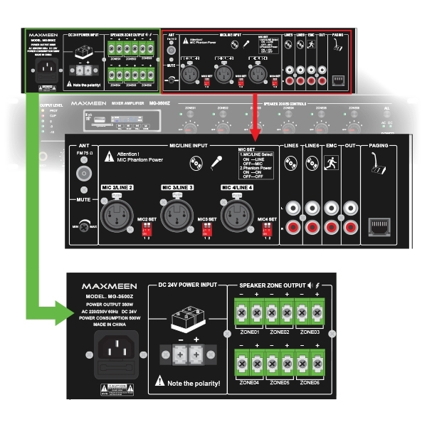 Maxmeen Six zones mixer Amplifier 350W WITH MP3-FM-BLUETOOTH and Paging system, MG-3500Z Front – Rear